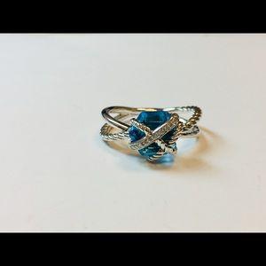 David Yurman Cable Wrap Ring Blue Topaz Diamonds